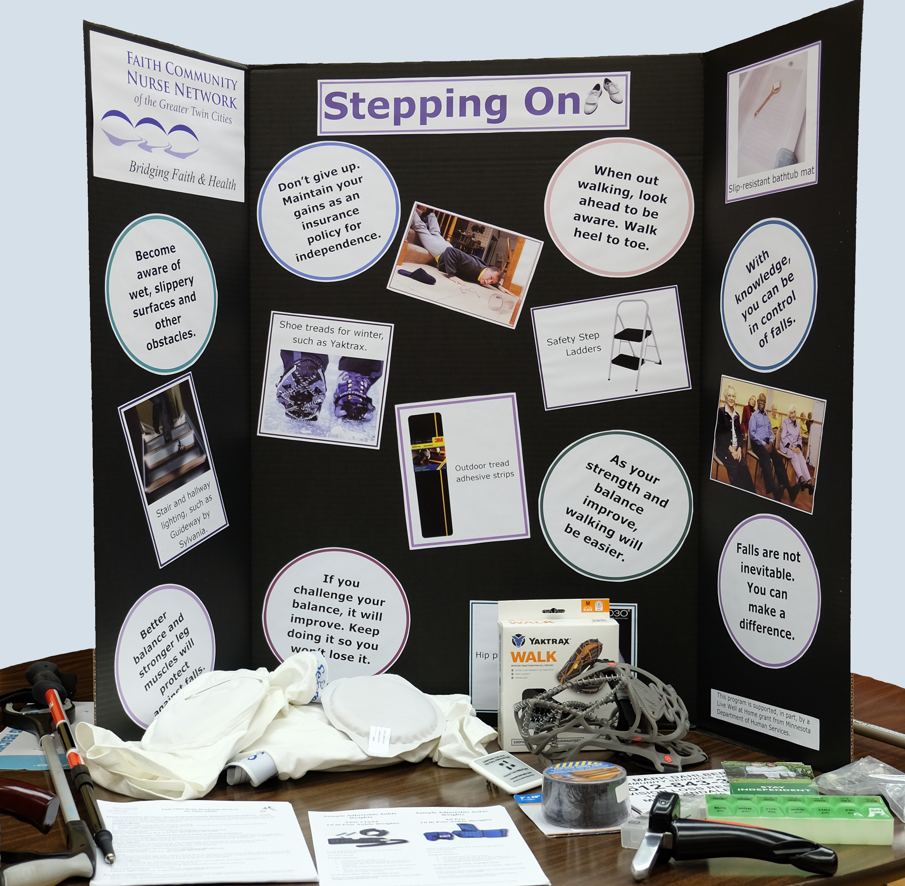 Image of Stepping On falls prevention workshop display board